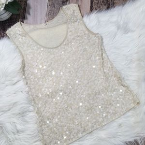 J CREW SMALL IVORY SEQUIN TANK TOP SLEEVELESS